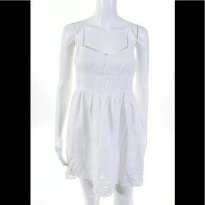 THEORY EMBROIDERED HEM WHITE EMPIRE WAIST DRESS